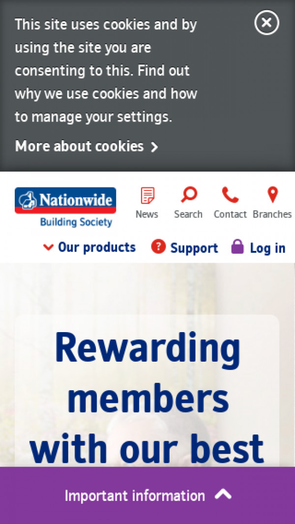 Mobile screenshot of Nationwide Building Society website