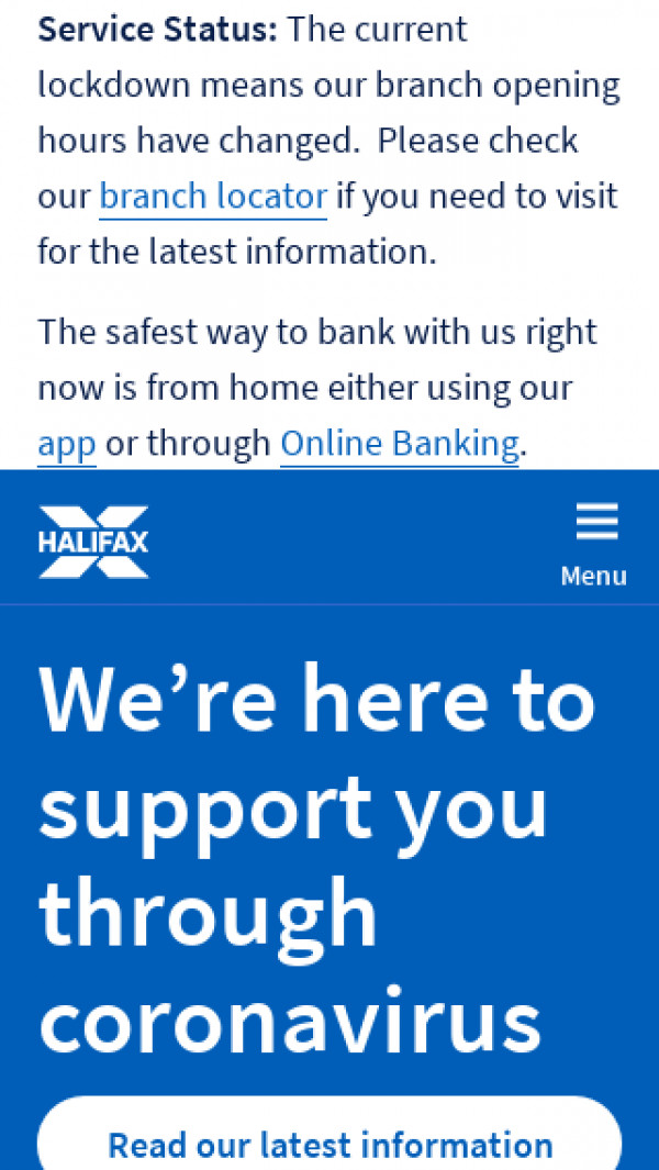 Mobile screenshot of Halifax website
