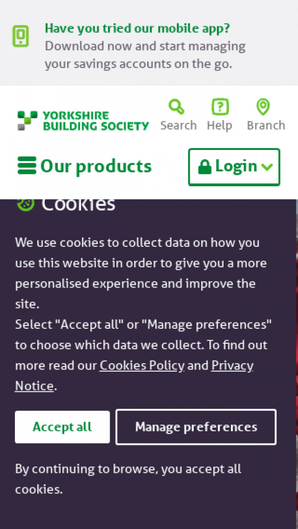 Mobile screenshot of Yorkshire Building Society website