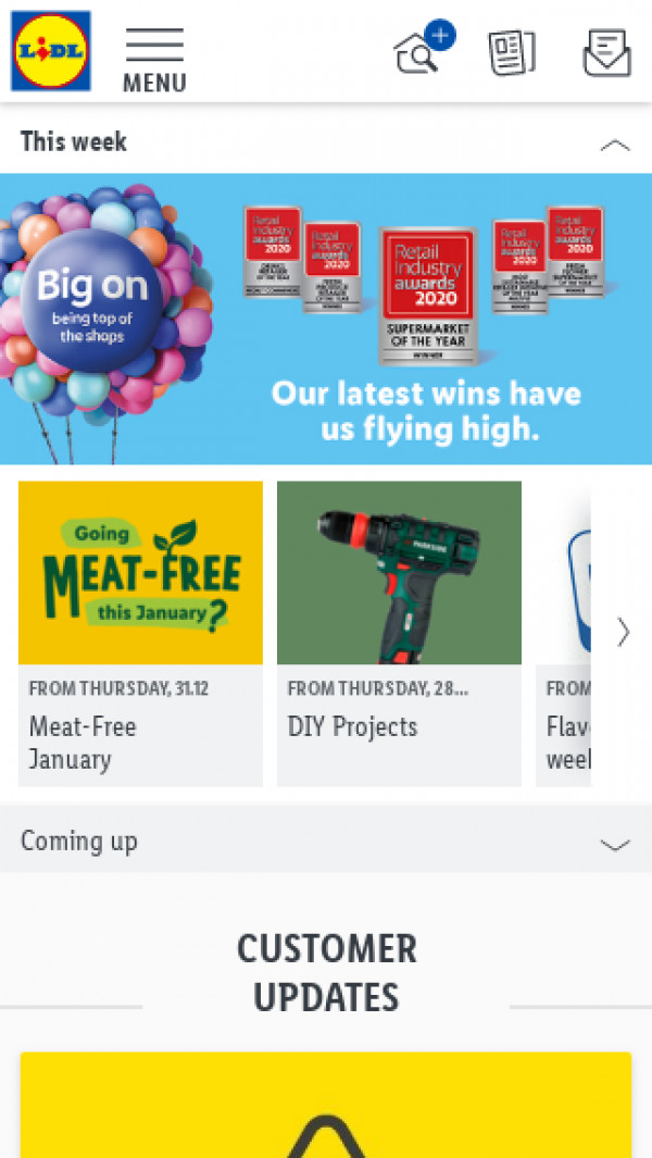 Mobile screenshot of Lidl website