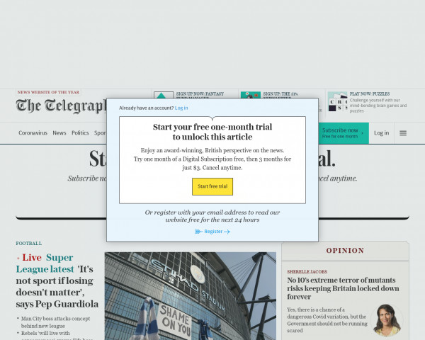 Desktop screenshot of The Daily Telegraph website