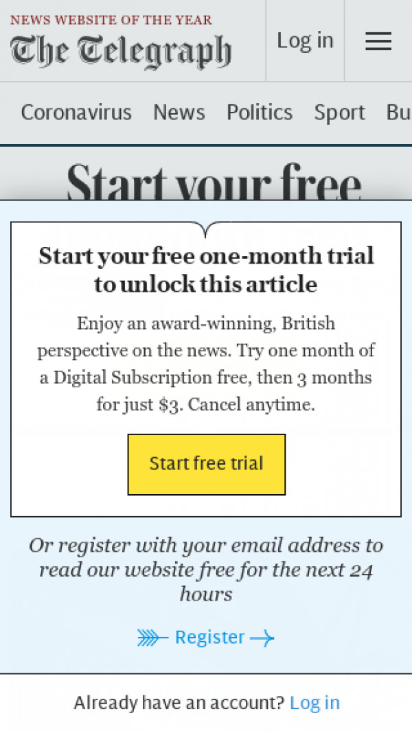 Mobile screenshot of The Daily Telegraph website