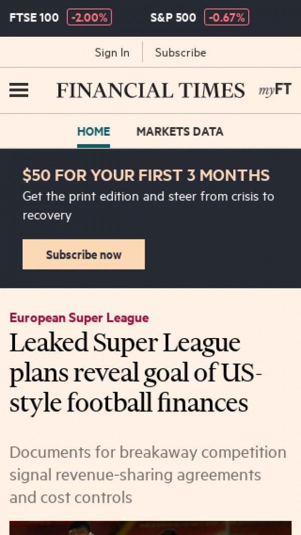 Mobile screenshot of Financial Times website
