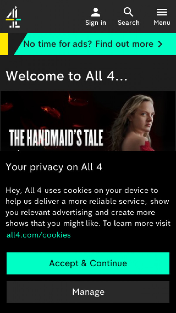 Mobile screenshot of Channel Four website