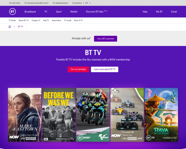Desktop screenshot of BT TV website