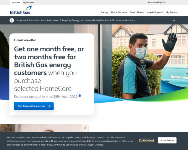 Desktop screenshot of British Gas website
