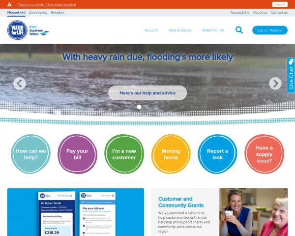Screenshot of Southern Water: Water and wastewater services for the South East
