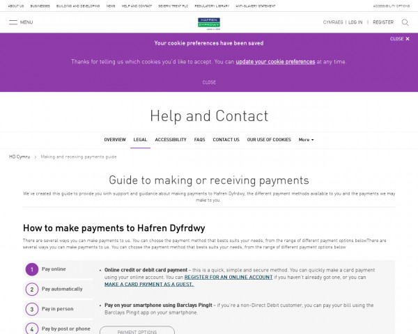 Screenshot of Making and receiving payments guide   Legal   Help and Contact   HD Cymru