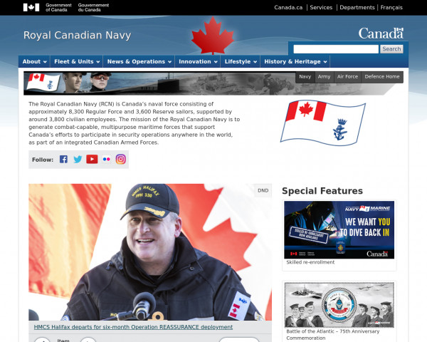Screenshot of Royal Canadian Navy