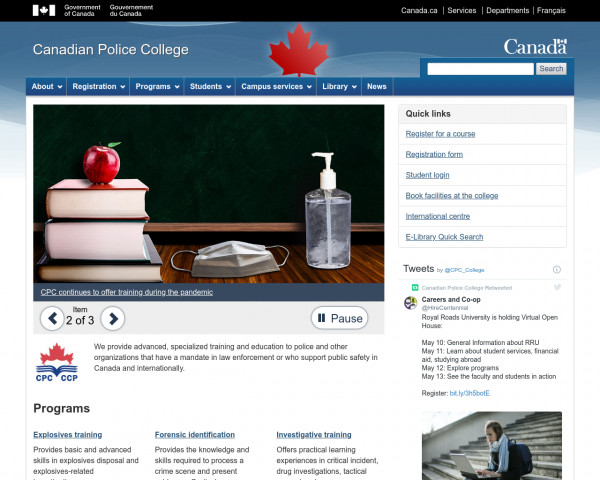 Screenshot of Canadian Police College