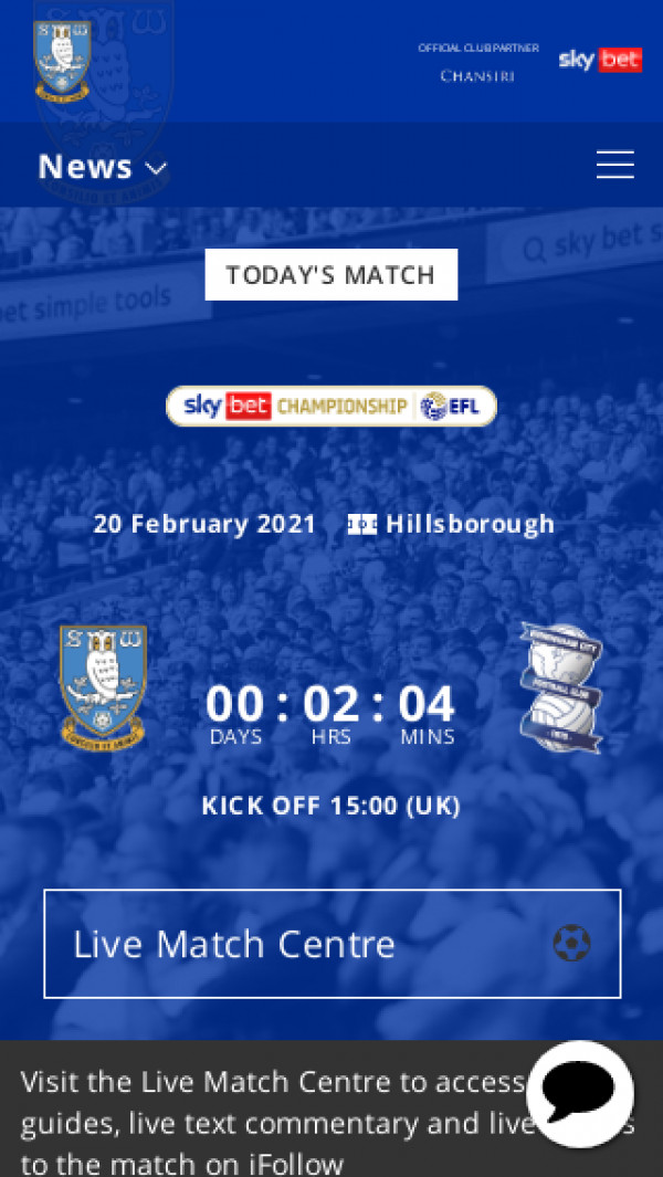 Mobile screenshot of Sheffield Wednesday FC website