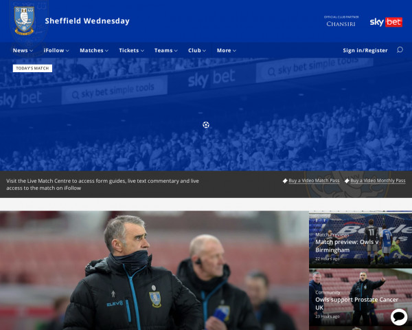Desktop screenshot of Sheffield Wednesday FC website