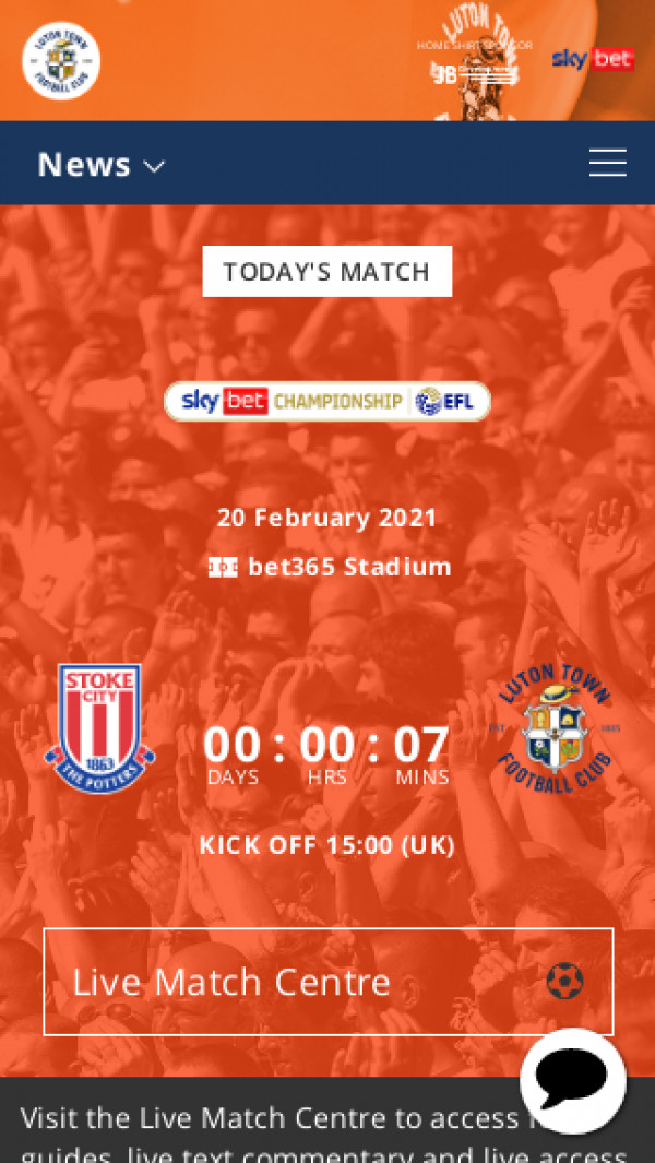 Mobile screenshot of Luton Town FC website