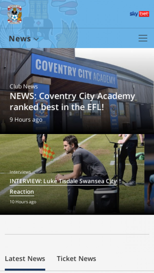 Mobile screenshot of Coventry City FC website