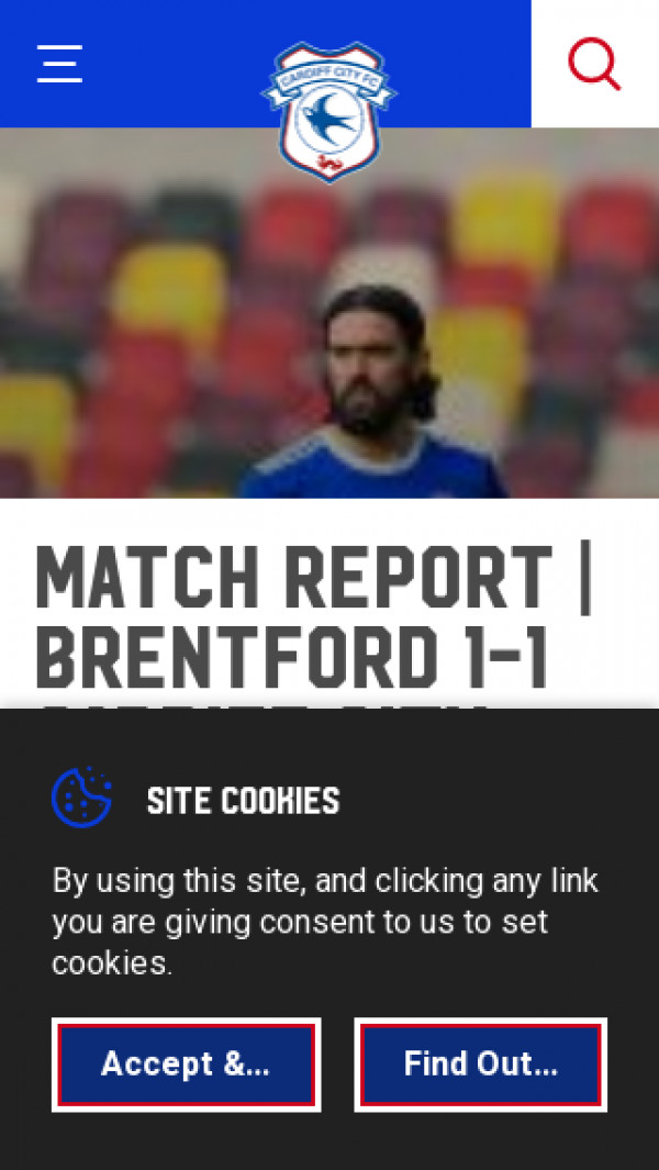 Mobile screenshot of Cardiff City FC website