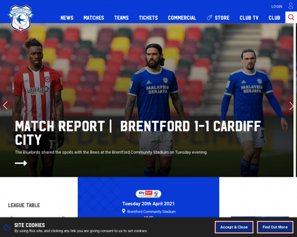 Desktop screenshot of Cardiff City FC website