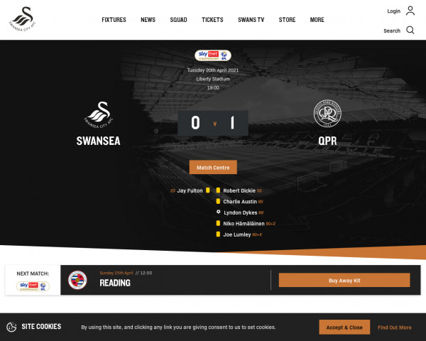 Desktop screenshot of Swansea City FC website