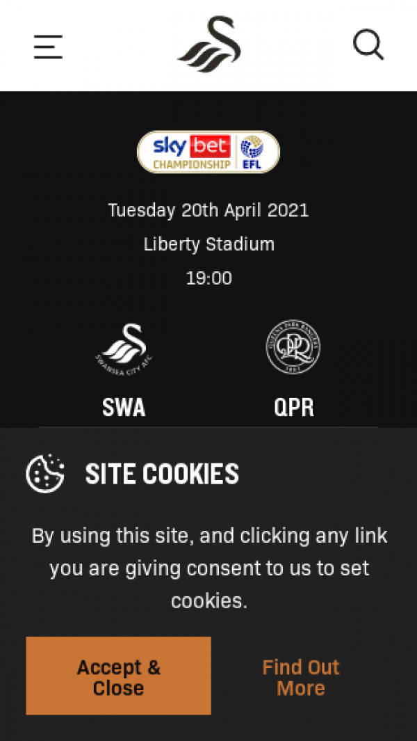 Mobile screenshot of Swansea City FC website