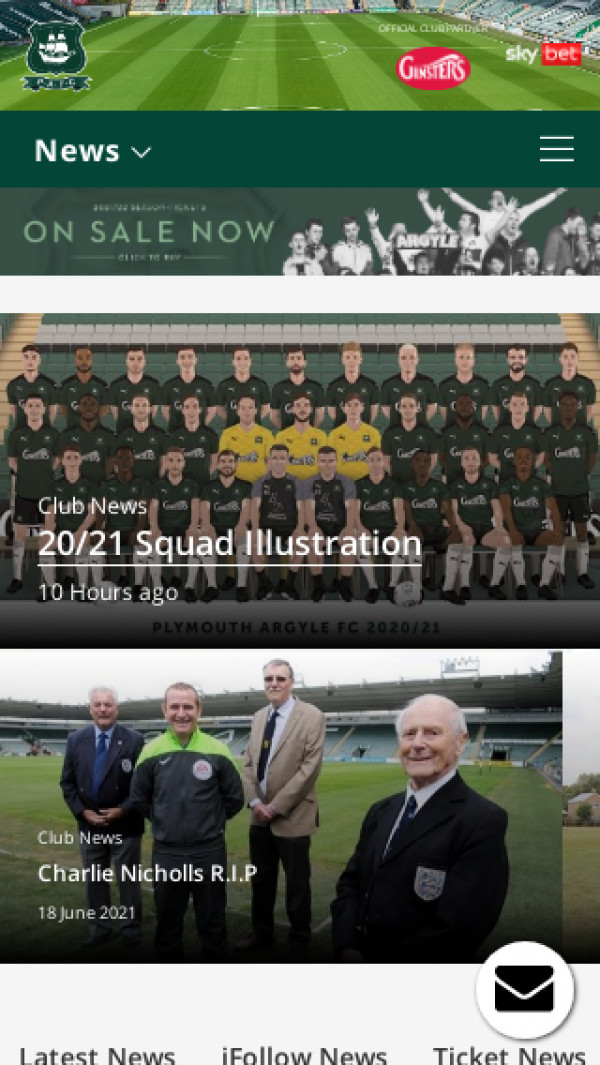 Mobile screenshot of Plymouth Argyle FC website