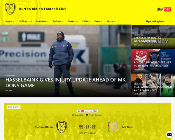 Desktop screenshot of Burton Albion FC website