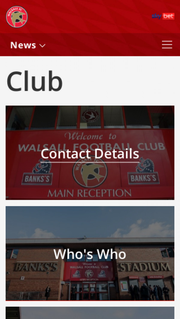 Mobile screenshot of Walsall FC website