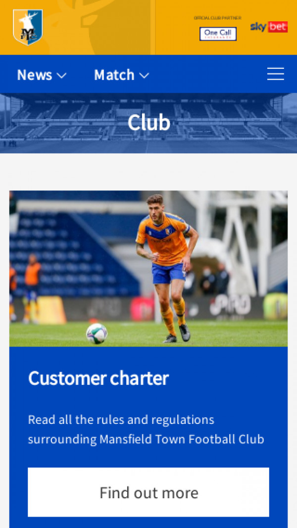 Mobile screenshot of Mansfield Town FC website
