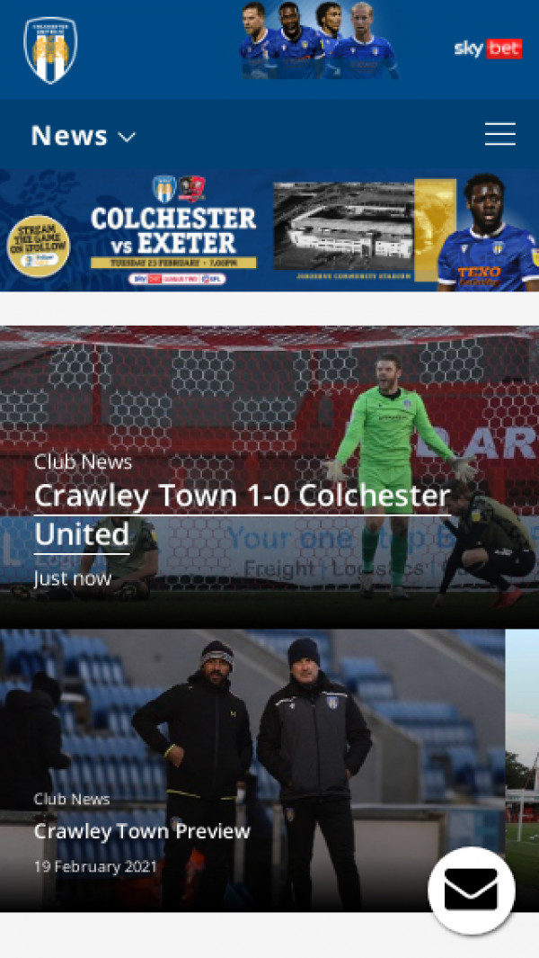 Mobile screenshot of Colchester United FC website