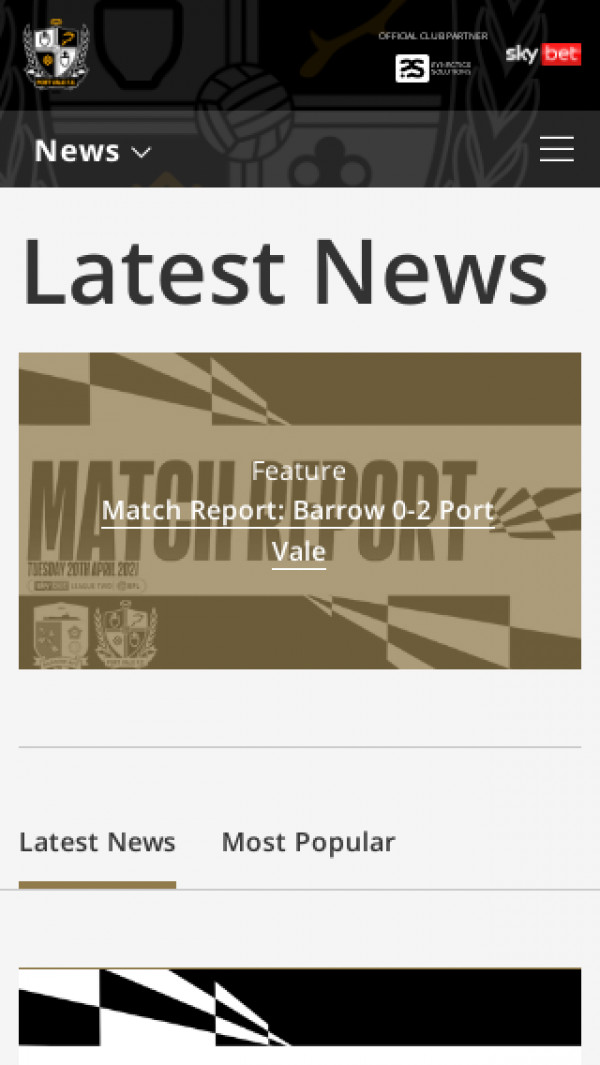 Mobile screenshot of Port Vale FC website