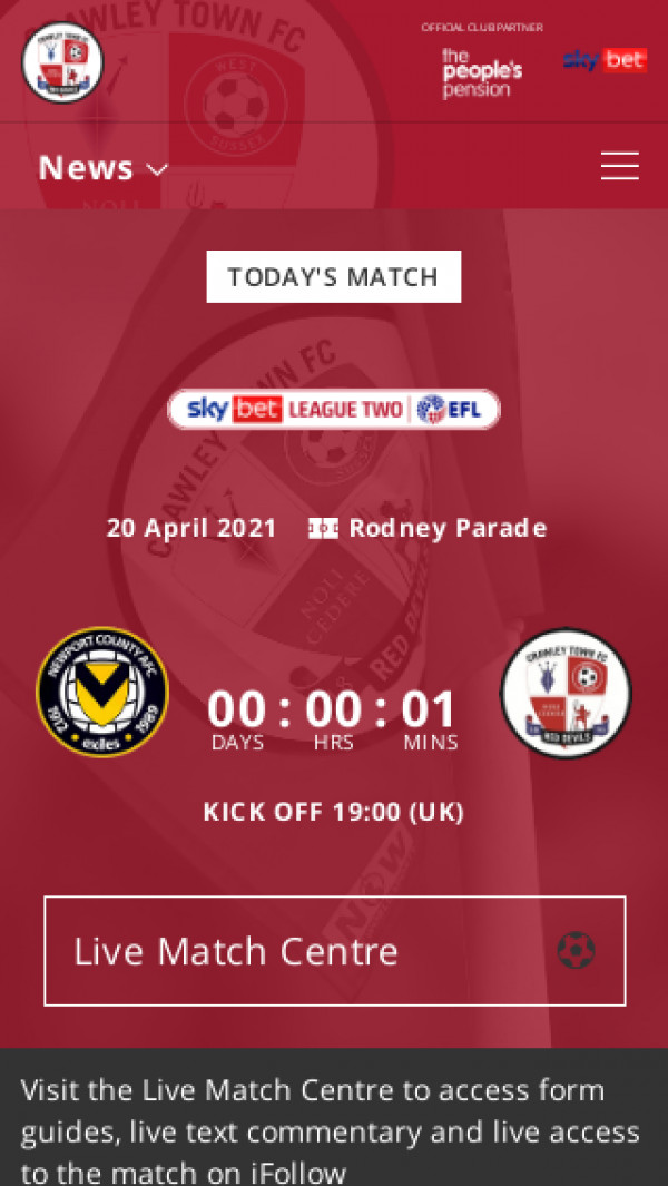 Mobile screenshot of Crawley Town FC website