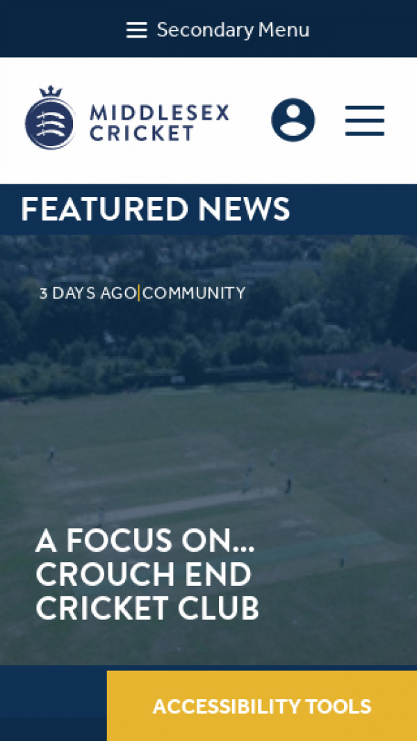 Mobile screenshot of Middlesex County Cricket website