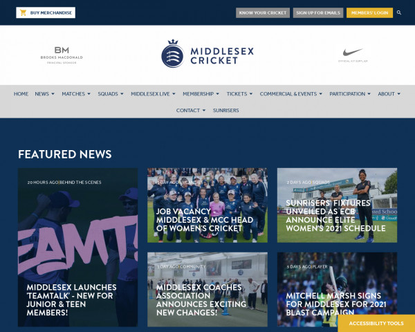 Desktop screenshot of Middlesex County Cricket website