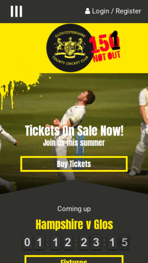 Mobile screenshot of Gloucestershire County Cricket website