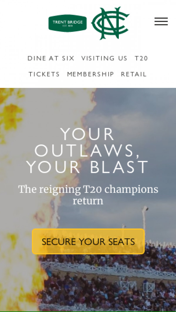Mobile screenshot of Nottinghamshire County Cricket website