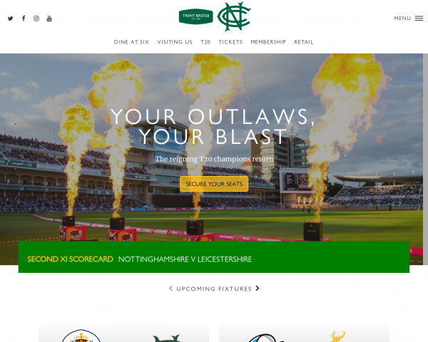 Desktop screenshot of Nottinghamshire County Cricket website