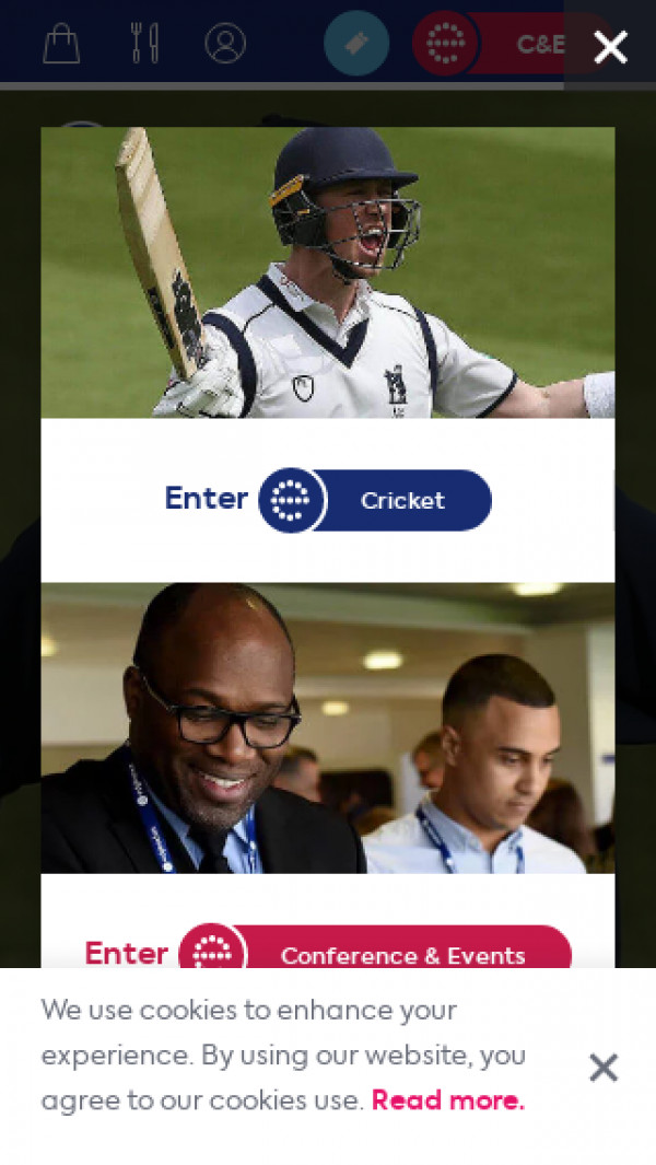 Mobile screenshot of Warwickshire County Cricket website