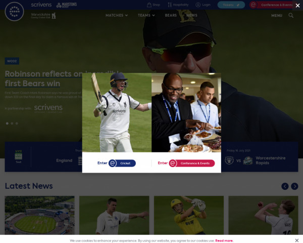 Desktop screenshot of Warwickshire County Cricket website