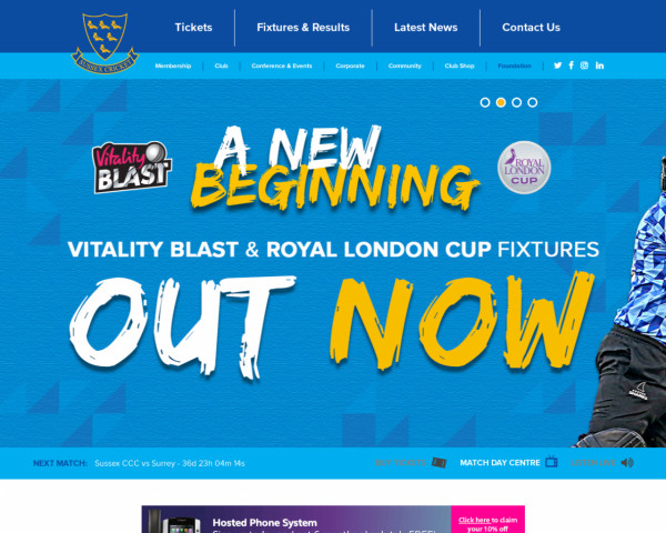 Desktop screenshot of Sussex County Cricket website