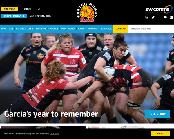 Screenshot of Exeter Chiefs - Home of Exeter's Premier Rugby Club