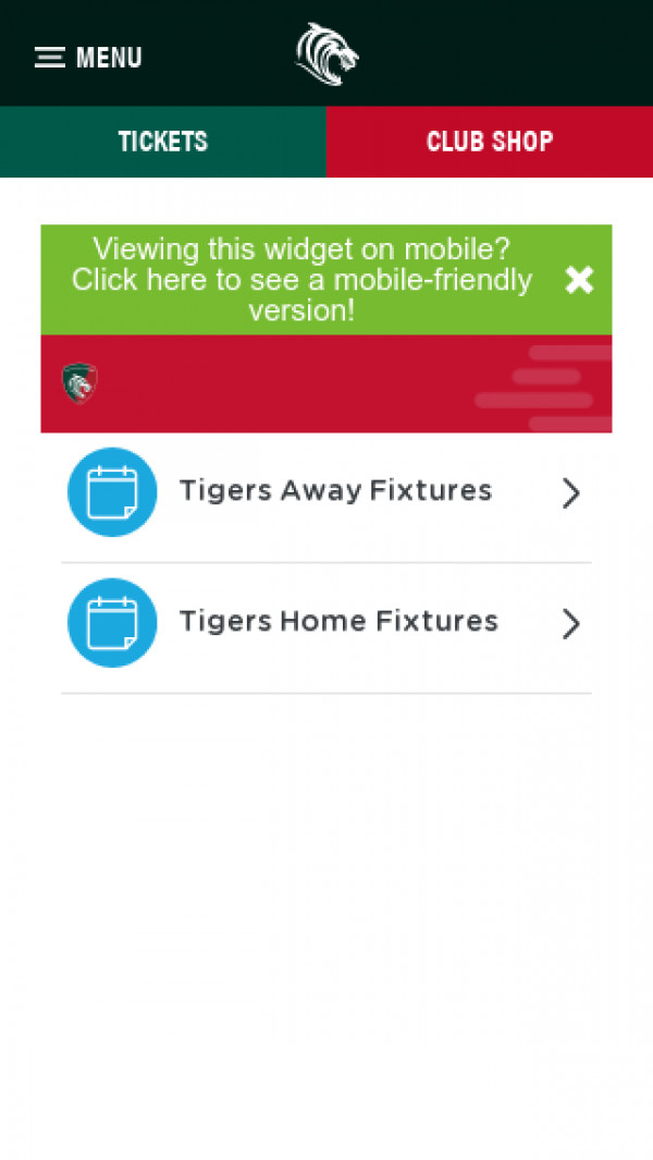 Mobile screenshot of Leicester Tigers website