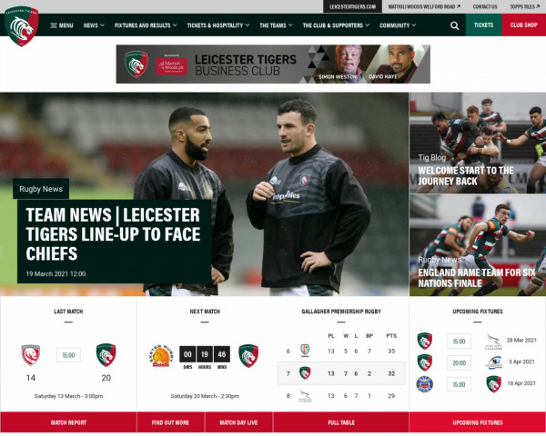 Screenshot of Home of Leicester Tigers | Leicester Tigers
