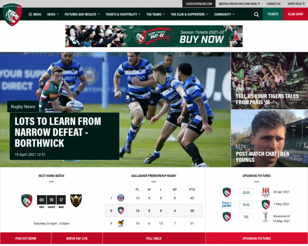 Desktop screenshot of Leicester Tigers website