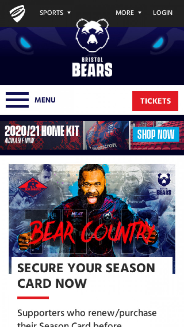 Mobile screenshot of Bristol Bears website