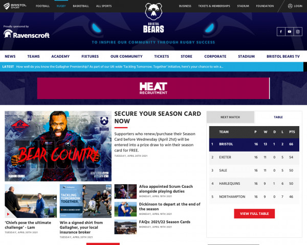 Desktop screenshot of Bristol Bears website