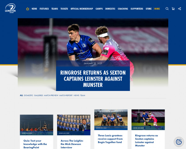 Desktop screenshot of Leinster Rugby website
