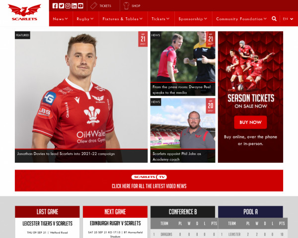 Screenshot of Official Website - Scarlets Rugby
