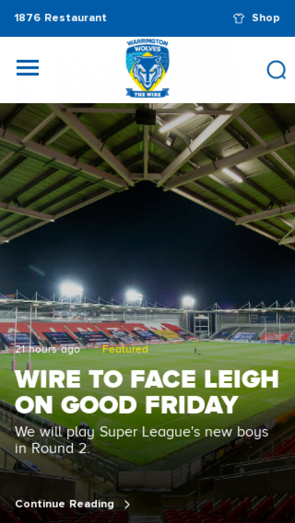 Mobile screenshot of Warrington Wolves RFL website
