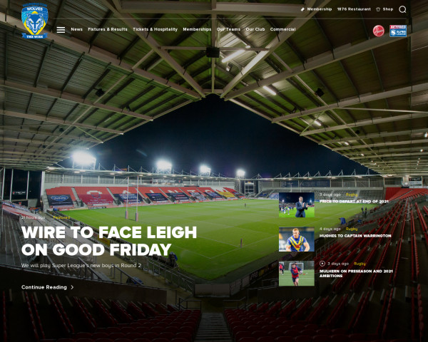Desktop screenshot of Warrington Wolves RFL website