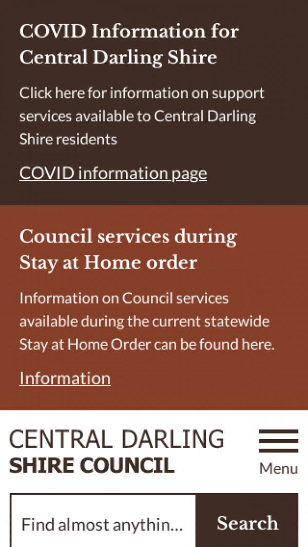 Mobile screenshot of Central Darling Shire Council website