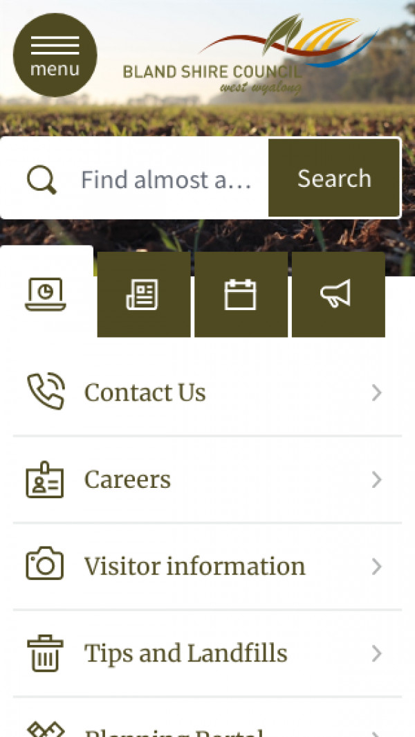 Mobile screenshot of Bland Shire Council website