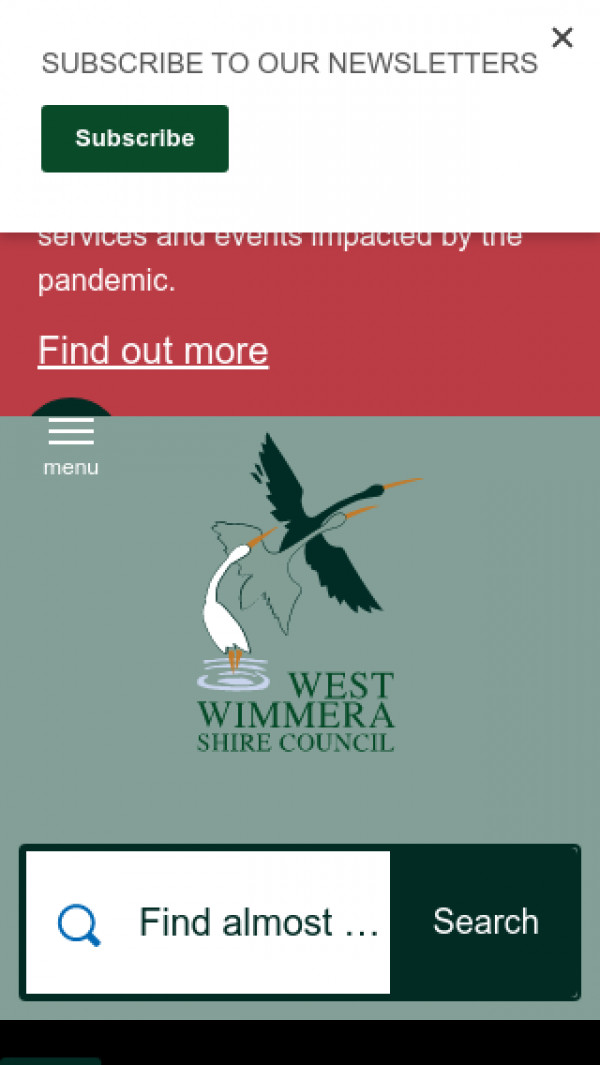 Mobile screenshot of West Wimmera Shire Council website